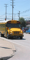 School buses are usually in rush hour traffic. By NIOSH.
